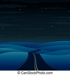 vecteur, highway., paysage, nuit