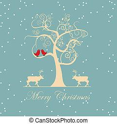 vecteur, hiver arbre, oiseaux