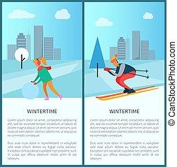 vecteur, hiver, femme, boule de neige, illustration
