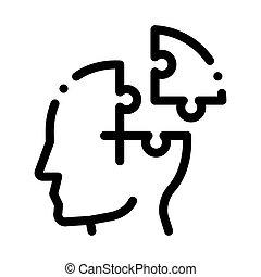 vecteur, homme, détail, icône, mal tête, puzzle, silhouette