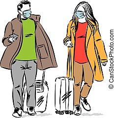 vecteur, homme, voyage, couple, illustration, concept, femme