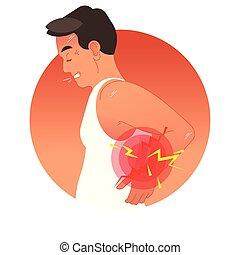 vecteur, humain, sports, ou, surcharge, injury., dos, travail, torso., illustration, concept, douloureux