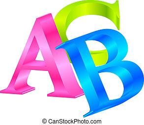vecteur, icône, abc, coloré, 3d