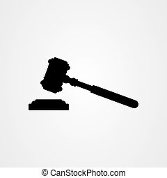 vecteur, icône, gabarit, logo, marteau, marteau, droit & loi