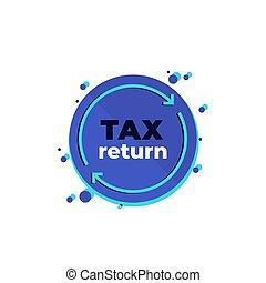 vecteur, icône, impôt, blanc, retour
