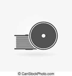 vecteur, icône, imprimante, filament, 3d