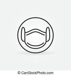 vecteur, icône, linéaire, concept, monde médical, masque, figure