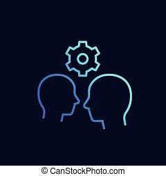vecteur, icône, linéaire, interaction, humain