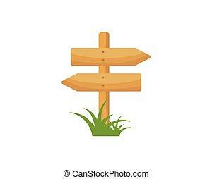 vecteur, icône, signe, bois, illustration