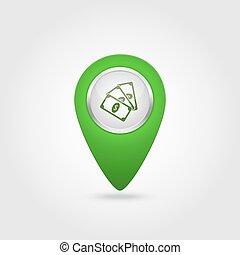 vecteur, icône, signe, vert, emplacement, argent