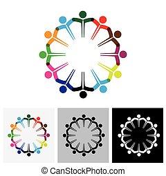 vecteur, icônes concept, gens, -, ensemble, gosses, mains, logo, ou, icône
