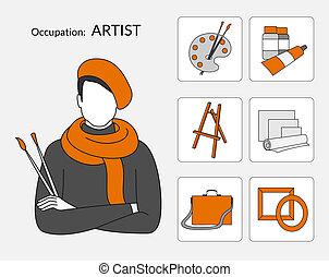 vecteur, icônes, ensemble, artiste