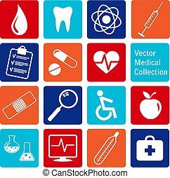 vecteur, icônes, monde médical, collection