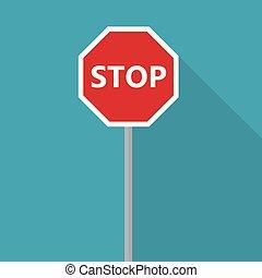vecteur, icon-, route, illustration, signe, arrêt
