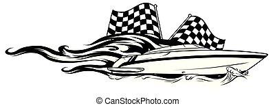 vecteur, illustration, brûler, icône, race bateau