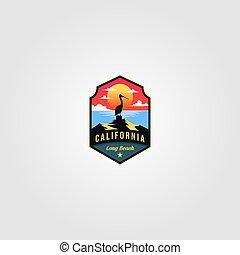 vecteur, illustration, californie, oiseau, plage, conception, pélican, logo