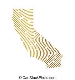 vecteur, illustration, carte, doré, rempli, empreinte doigt, californie, pattern-