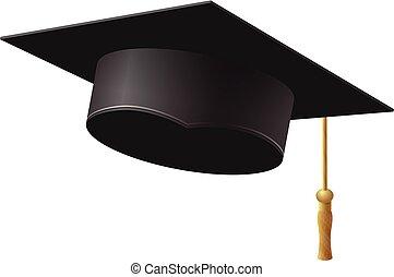 vecteur, illustration., casquette, remise de diplomes, fond, blanc
