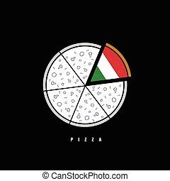vecteur, illustration, coloré, pizza