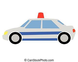 vecteur, illustration, coloré, voiture, police
