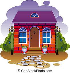 vecteur, illustration, cottage.