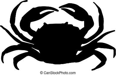 vecteur, illustration, crabe, silhouette