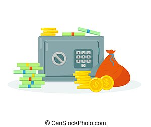 vecteur, illustration., dépôt, sûr, argent