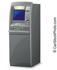 vecteur, illustration, distributeur billets banque