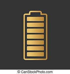 vecteur, illustration, entiers, doré, batterie, icon-