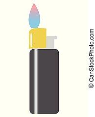 vecteur, illustration, flamme, briquet cigarette
