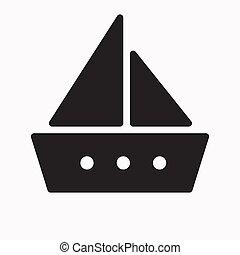 vecteur, illustration, icône, bateau