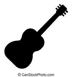vecteur, illustration, isolé, signe, guitare 2, arrière-plan noir, icône, flamenco