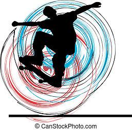 vecteur, illustration., patineur