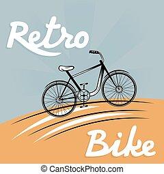 vecteur, illustration, retro, vélo