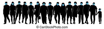 vecteur, illustration, silhouette, foule, monde médical, masks., gens