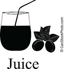 vecteur, -, illustration, symboles, jus, fruit