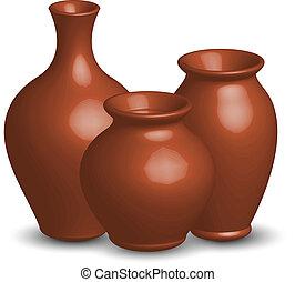 vecteur, illustration, vases