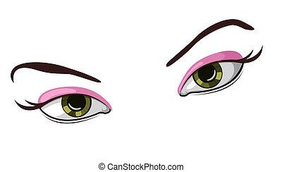 vecteur, illustration, yeux, beau