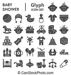 vecteur, illustrations, collection, 10., paquet, ensemble, enfance, enfant, isolé, eps, symboles, solide, fond, pictograms, signes, bébé, logo, blanc, icône, croquis, glyph