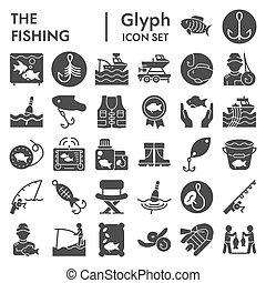 vecteur, illustrations, collection, 10., paquet, ensemble, pêcheur, isolé, eps, symboles, solide, pêcheur, fond, peche, pictograms, signes, logo, blanc, icône, croquis, glyph