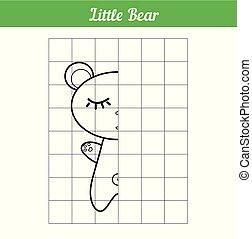 vecteur, image, peu, coloration, simple, game., pédagogique, illustration, dormir, plus jeune, ligne., livre, grille, bear., children., long, copie