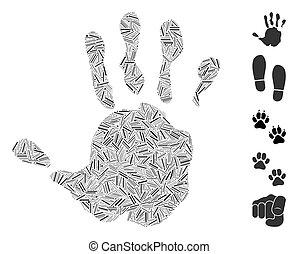 vecteur, impression, icône, mosaïque, main, ligne