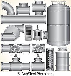 vecteur, industriel, éléments