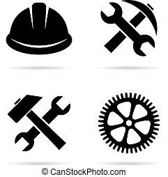 vecteur, industriel, signe construction