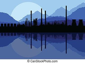 vecteur, industriel, usine, illustration, raffinerie, huile, collection, fond, paysage