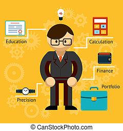 vecteur, information, homme affaires