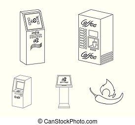 vecteur, information, isométrique, ensemble, contour, machine, illustration, symbole, icônes, café, collection, terminal., distributeur billets banque, terminaux, style, toile, stockage