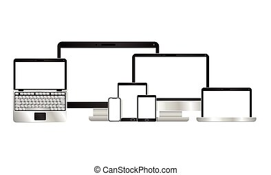 vecteur, informatique, ordinateur portable, tablette, conception, smartphone