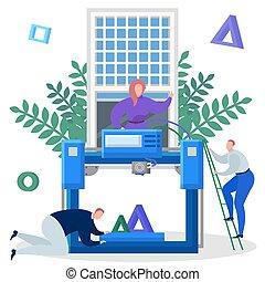 vecteur, ingénieurs, imprimante, 3d, illustration., équipe, impression