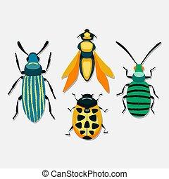vecteur, insectes, blanc, isolé, fond, ensemble
